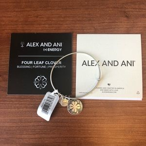 Alex and Ani Silver Four Leaf Clover Charm Bangle